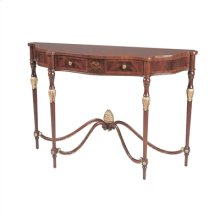 CROTCH MAHOGANY LATE GEORGIAN CONSOLE TABLE, ANTIQUE GO LD METAL LEAF ACCENTS