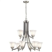 Serina Collection Serina 9 Light Chandelier in Brushed Nickel