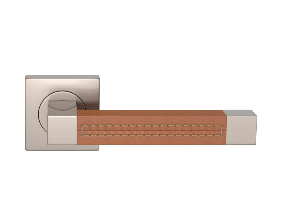 Square Stitch Out Recess Leather In Tan And Satin Nickel