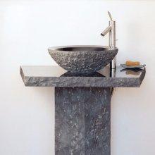 Vessel Pedestal and Pedestal Countertop Blue Gray Granite