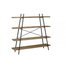 Shelving unit 4 layers 190x50x179 cm MICULLA black+wood