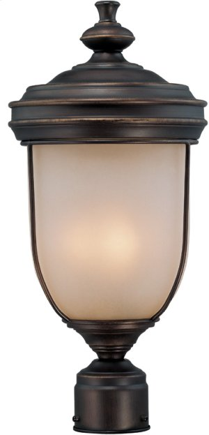 Outdoor Post Lamp, Ant. RUST/L.AMB Glass, E12 Type B 60wx3