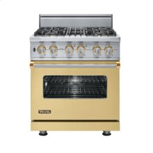"30"" Custom Sealed Burner Dual Fuel Range, Propane Gas, Brass Accent"