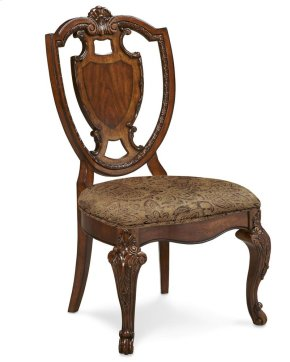 Old World Shield Back Side Chair With Fabric Seat