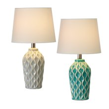 2 pc. ppk. Embossed Vertical Wavy Line Accent Lamp. 40W Max. (2 pc. ppk.)