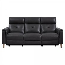 Gala Contemporary Sofa in Brown Wood Finish and Pewter Genuine Leather