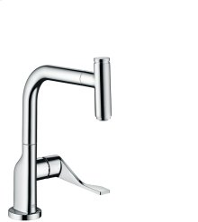 Chrome Single lever kitchen mixer with pull-out spout
