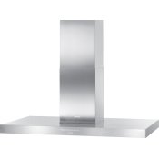 Island d(eback)cor hood with energy-efficient LED lighting and backlit controls for easy use.