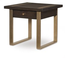 Square End Table w/ Metal Accent