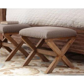 Accent Ottoman With Nailhead Trim