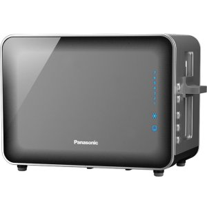 PANASONICStainless Steel and Glass Toaster, Smoke