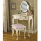 Off-White Vanity with Mirror & Bench Set Product Image