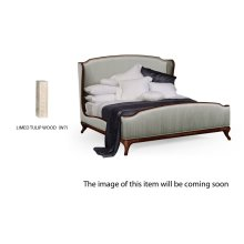 Cali King Louis XV Limed Tulip Bed, Upholstered in Dove Silk