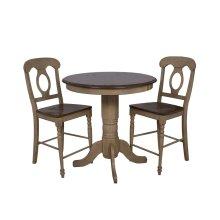 "DLU-BR3636CB-B50-PW3PC  3 Piece 36"" Round Pub Table Set with Napoleon Stools"