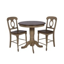 "DLU-BR3636CB-B50-PW3PC  3 Piece 36"" Round Pub Table Set with Napoleon Stools"