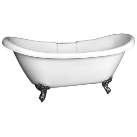 """Monique 69"""" Acrylic Double Slipper Tub - No Overflow or Faucet Holes with Tap Deck - Brushed Nickel"""