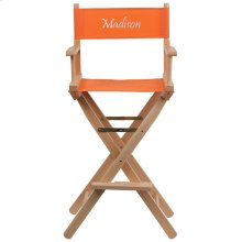 Embroidered Bar Height Directors Chair in Orange