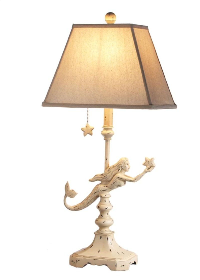 Mermaid table lamp - Ivory Mermaid Table Lamp 60w Max