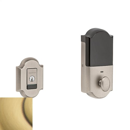 Satin Brass and Brown Evolved Arched Deadbolt