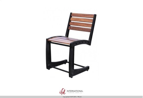 Iron Chair w/Wooden Seat & Back