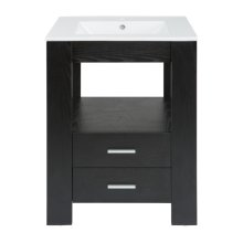 Single 24 in. W Black Finish Vanity