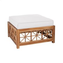 Teak Lattice Square Ottoman Cushion in White