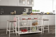 Kennon 3-piece Kitchen Cart Set - White With Granite Top Product Image