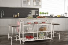 Kennon 3-piece Kitchen Cart Set - White With Granite Top
