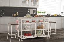 Kennon 3-piece Kitchen Cart Set - White With Granite Top