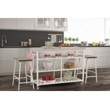 Kennon 3 Piece Kitchen Cart Set - Granite Top