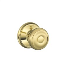 Georgian Knob Non-turning Lock - Bright Brass