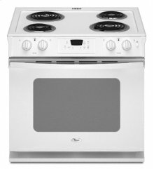 "White-on-White Whirlpool® 30"" Standard Clean ADA Compliant Drop-In Electric Coil Range"