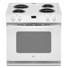 """White-on-White Whirlpool® 30"""" Standard Clean ADA Compliant Drop-In Electric Coil Range"""