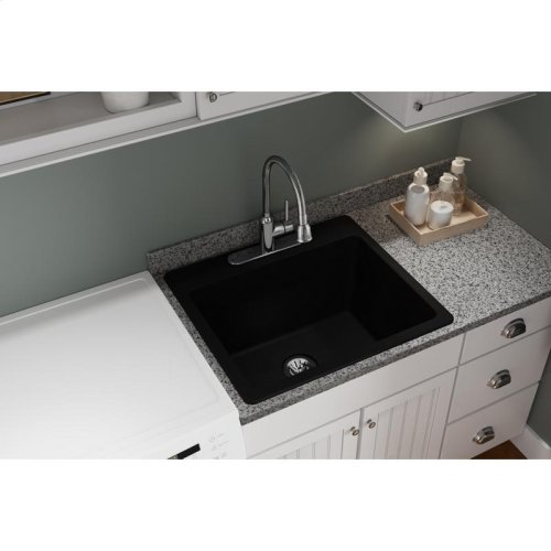 "Elkay Quartz Classic 25"" x 22"" x 11-13/16"", Drop-in Laundry Sink with Perfect Drain, Black"