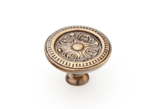 "Solid Brass, Symphony, Eastlake, Round Knob, 1-1/2"" dia, Cottage Antique finish"