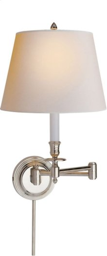 Visual Comfort S2010PN-NP Studio Candle Stick 19 inch 75 watt Polished Nickel Swing-Arm Wall Light in Natural Paper