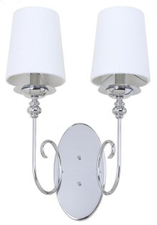 Cunningham 21-inch H Wall Sconce - Chrome Shade Color: Off-White