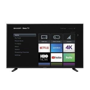 """Sharp58"""" Class (57.5"""" diag.) 4K Sharp Roku TV with HDR"""