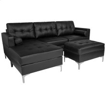 Riverside Upholstered Tufted Back Sectional with Left Side Facing Chaise, Bolster Pillows and Ottoman Set in Black Leather