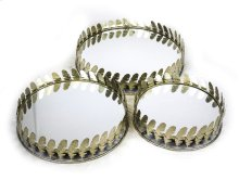 S/3 Gold Feather Rim Mirrors