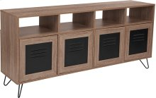 "Woodridge Collection 85.5""W 4 Shelf Storage Console\/Cabinet with Metal Doors in Rustic Wood Grain Finish"