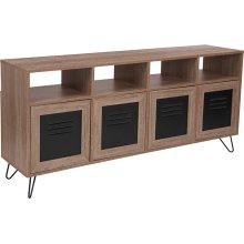 "Woodridge Collection 85.5""W 4 Shelf Storage Console\/Cabinet with Metal Doors in Rustic Wood Grain Finish"