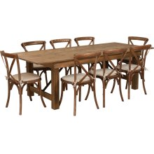 8' x 40'' Antique Rustic Folding Farm Table Set with 8 Cross Back Chairs and Cushions