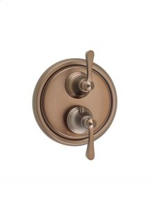 Berea Dual-control Thermostatic Valve with Volume Control and Diverter Trim - Bronze