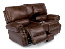 Colton Leather Power Reclining Loveseat with Console and Power Headrests