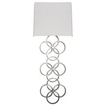 Large Silver Leaf Circles Sconce With White Linen Shade