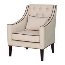 Halstead Button Tufted Linen Lounge Chair w/ Contrast Welt