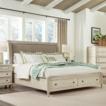 Huntleigh - California King Sleigh Bed Rails - Vintage White Finish