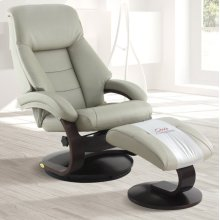 Putty (Gray) Top Grain Leather with Alpine (Black) Finish - Reclines - Swivels - Lumbar Support - Quality Top Grain Leather - Pillow Top Back Cushion
