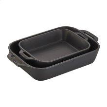 Staub Ceramics 2-pc Rectangular Baking Dish Set, Black Matte
